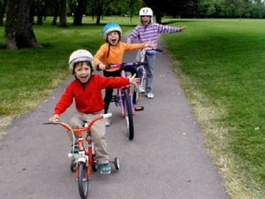 Children cycling safely
