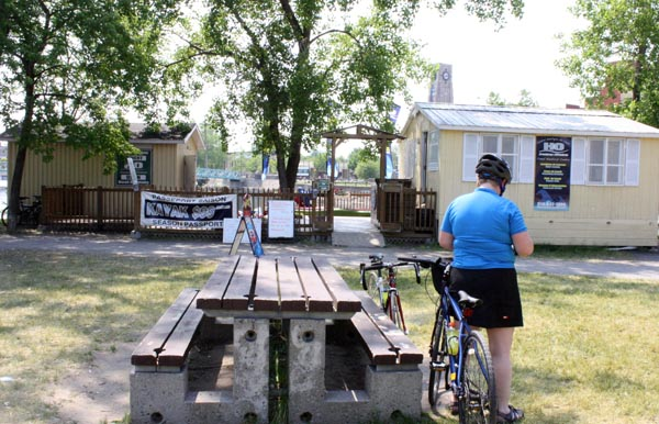 One of the stops along the Lachine Canal bike path where you can buy snacks, water and Gatorade - and even rent a kayak!