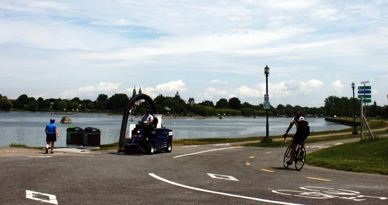 You have reached the St Lawrence Seaway, and are looking out on Lake Saint-Louis. lachine canal bike path