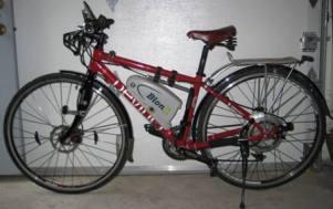 My new red Devinci Copenhagen frame, retrofitted with my BionX electric bike kit