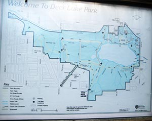 Deer Lake Park Trails Views Map. Deer Lake Park Bike Trails in Burnaby, BC, Canada