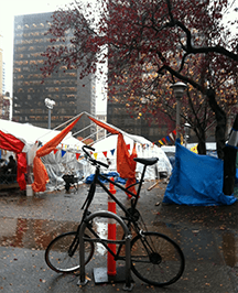 Bike parked besides the Occupy Vancouver demonstration - Vancouver Cycling Culture