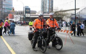 Paramedics on bikes at the Vancouver Sun Run