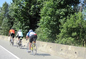 Cycling up the Barnet Highway Bike Lane - the lane is broad