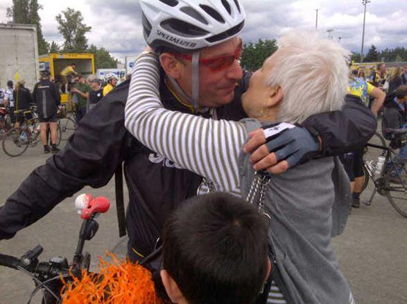Big hug from Mom! Enbridge ride to conquer cancer