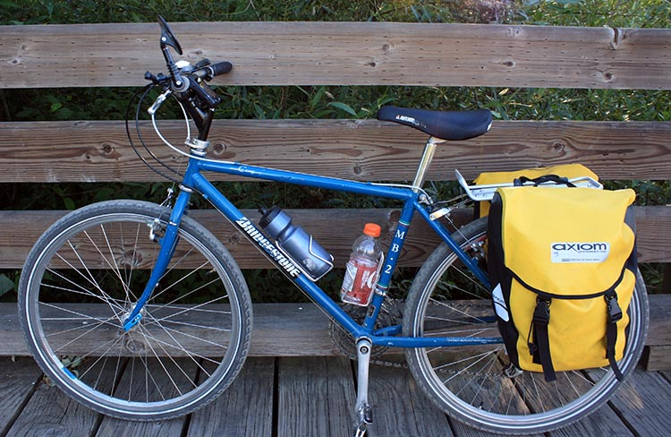 We use Axiom panniers on all of our bike tours - they are completely waterproof and very spacious. Here they are on my beautiful vintage Bridgestone mountain bike, on a bridge on the Lochside Trail