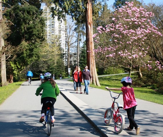 Here's my daughter cycling in Stanley Park, Vancouver