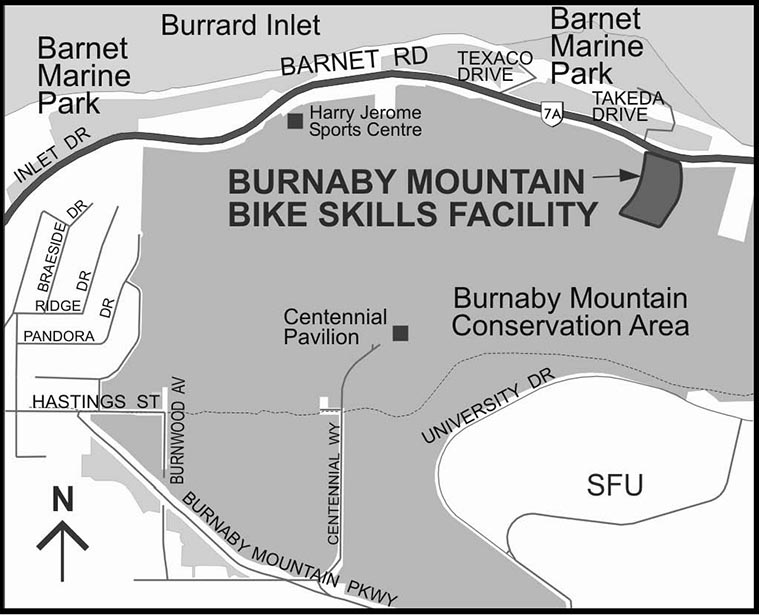Map of the Mountain Air Bike Skills Park in the Burnaby Mountain Conservation Area