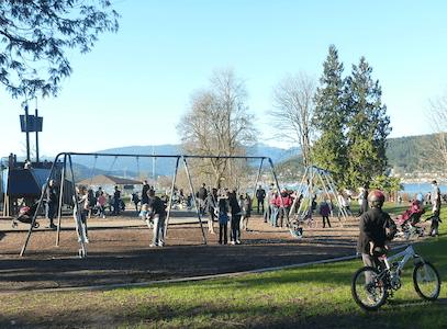 Children's park near Shoreline Trail, Rocky Point Park. Shoreline Trail in Rocky Point Park, Port Moody, BC, Canada – Guide and videos