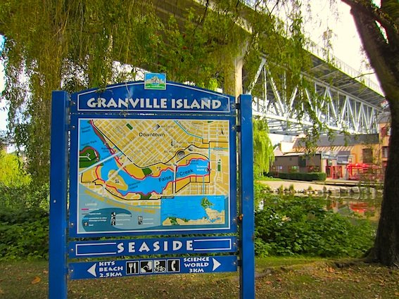 Granville Island sign on the Seaside Bike Route, Vancouver