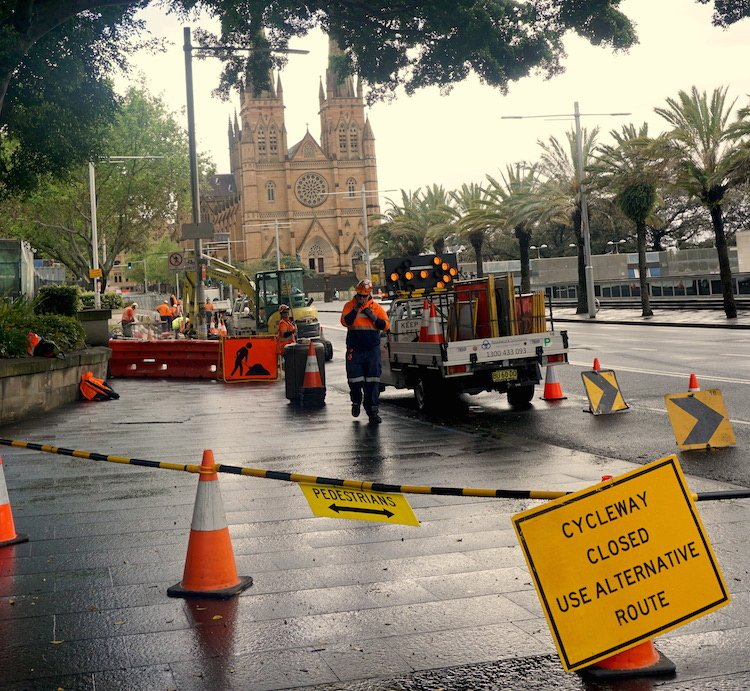 Sydney cycling - College Street Cycleway still closed down - St. Mary's Cathedral in the background