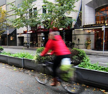 Cyclist moving fast