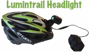 This is the Lumintrail Headlight attached to my own winter Giro helmet. The black blob to the right is the battery. The Lumintrail headlight can be attached to your helmet or your handlebars