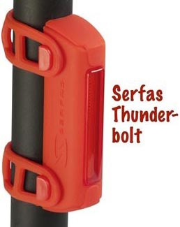 The Serfas Thunderbolt Bike Tail light attaches easily to your seat post or any other part of your bike or even backpack or pannier.