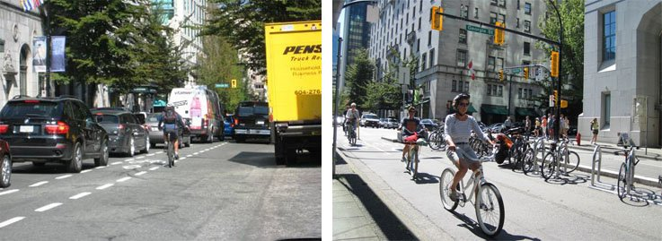 Hornby Street in Vancouver before it had a separated cycle route and after