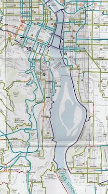 Map of Bike Trail around Willamette River, Portland, Oregon