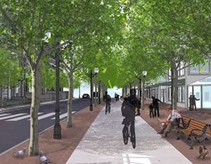 In the summer, the freezeway would become a walking and cycling route, for year-round active transportation