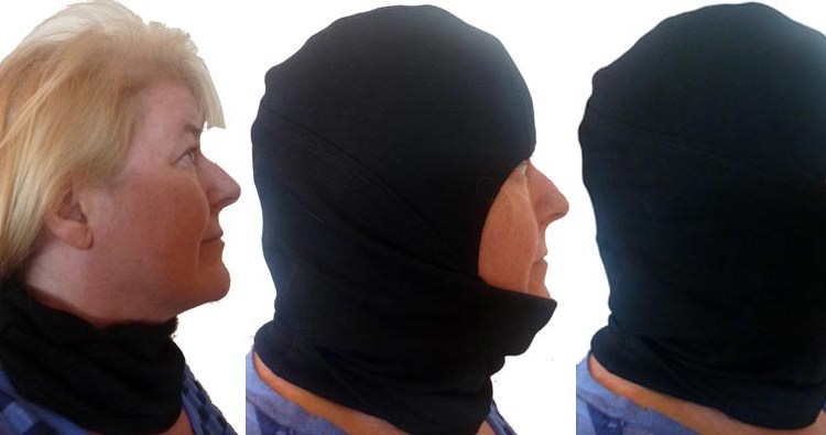 These are the three positions in which you can wear this cycling balaclava: just around the neck; below the chin; and full face