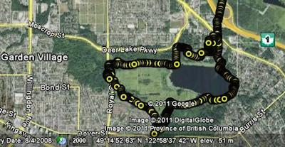 Map of Deer Lake Park bike ride, recorded on a Garmin Edge 520 GPS bike computer. Deer Lake Park Bike Trails in Burnaby, BC, Canada