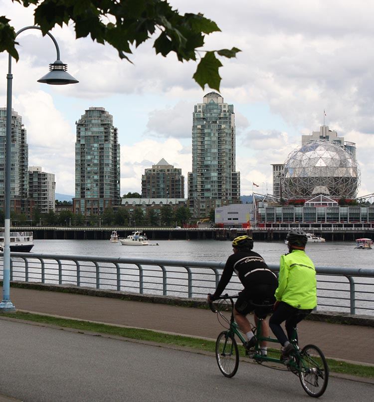 Bike Rentals Vancouver – Where to Rent Bikes in Vancouver. Give your relationship a test - see if it can survive a ride on a bicycle made for two - personally I am never going to risk it, but many people do! Here's a couple on the Seaside Bike Route, with the iconic globe of Science World in the background