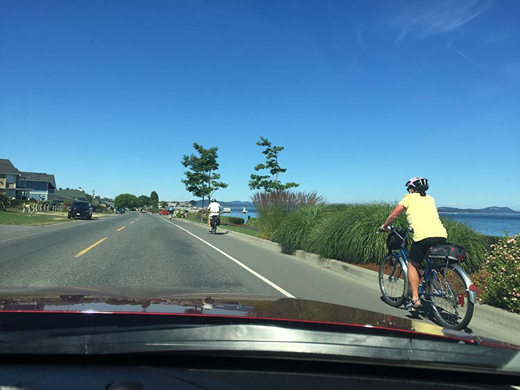 At this part of the Lochside Trail, going through Sidney, you are often cycling on a road, really close to cars. In this photo, the cyclists are heading towards Swartz Bay.