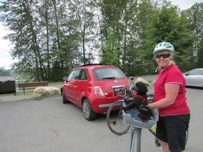 Mrs. Average Joe Cyclist and our dog Billy in the car park at the PoCo Trail, getting ready for a great bike ride!