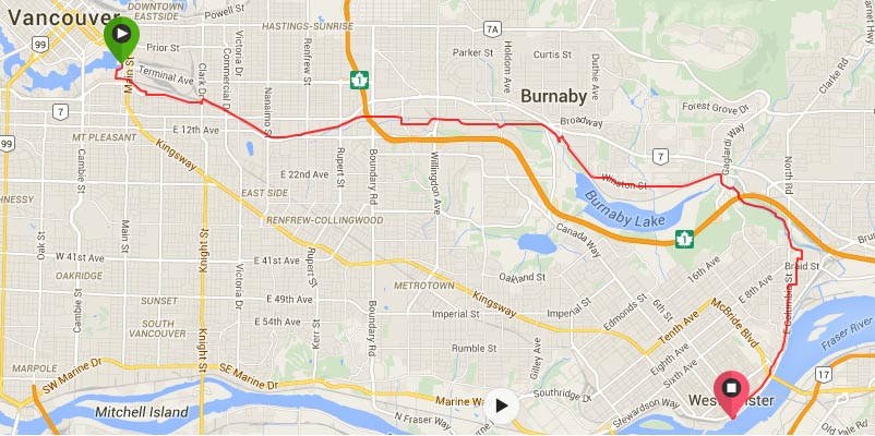 Map of the Central Valley Greenway bike trail, which runs from Vancouver to New Westminster