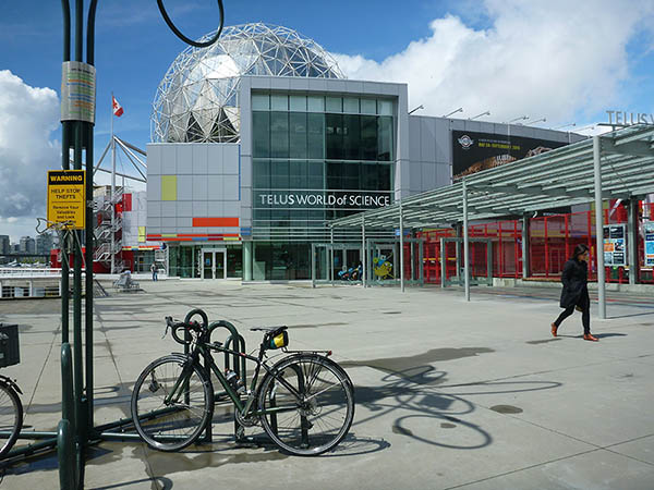 Your end point is the unique and spectacular, glittering giant golf ball that is Telus World of Science, aka Science World