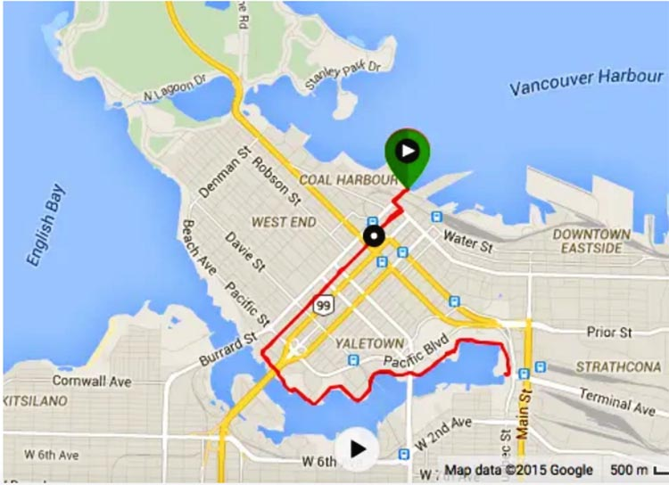 Map: Convention Center to Science World in Vancouver, via the Hornby Bike Lane and the Seaside Bike Route