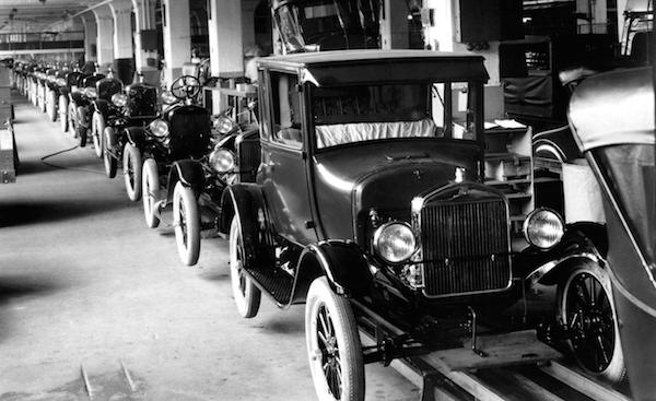 Health Benefits of Exercise - Research Shows Exercise is a Miracle Cure. A Ford Model T assembly line in 1926 - making cars affordable for most people, and putting obesity and bad health firmly on our collective future agenda - health benefit of exercise