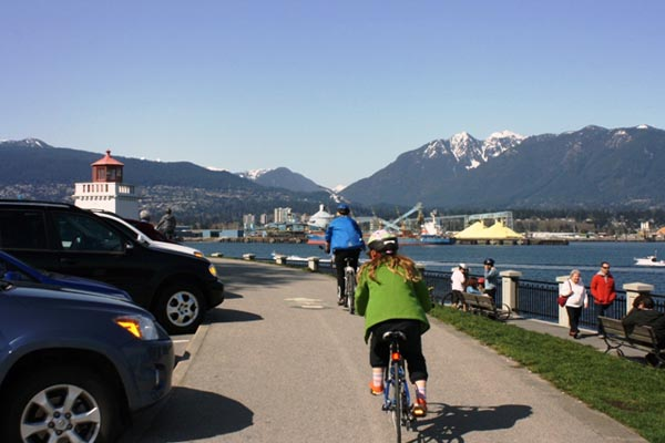 Cycling up towards the Brockton Point Lighthouse in Stanley Park