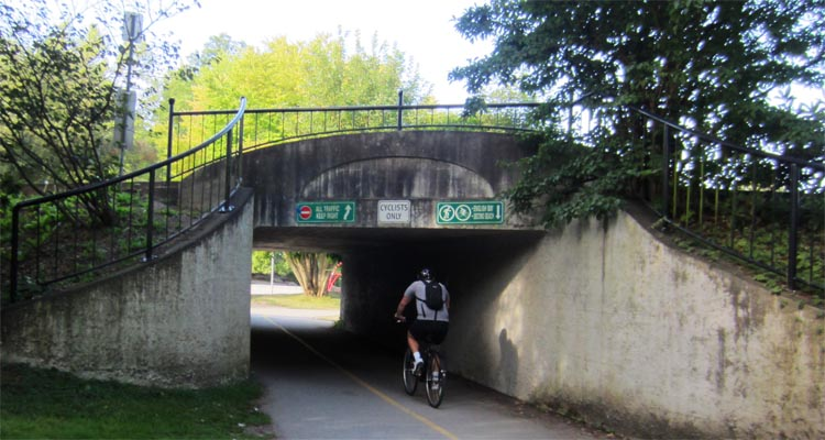 """Go through the tunnel that says """"Cyclists ONLY""""! Seaside Bike Route Vancouver"""