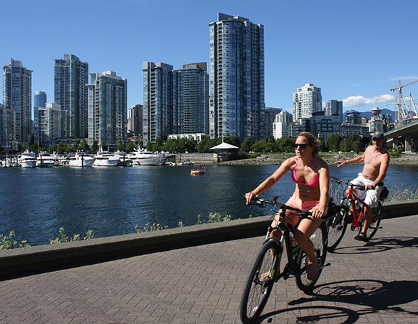The Seaside Bike Route offers a great chance to get out and enjoy the Vancouver sun