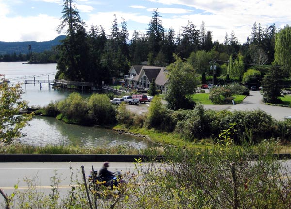 View of the Stickleback West Coast Eatery near Sooke, seen from the Galloping Goose Trail