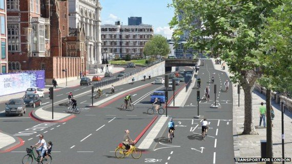 Artist's impression of the proposed bike superhighways in London