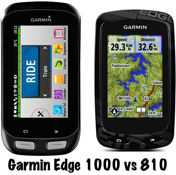 Garmin Edge 1000 vs 810. Note that in this picture, the 1000 has been rotated into landscape view. Also note the icon-based display -Garmin Edge 810 vs 1000 Bike Computers