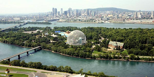 Jean Drapeau Park in the middle, Montreal in the background, and the Gilles Villeneuve Circuit on Ile Notre Dame in the foreground. The bridge on the left is the Passerelle du Cosmos bridge. The curious bubble in the middle is the Biosphère, Environment Museum. Needless to say, the Jean Drapeau Park is well worth a visit as well.