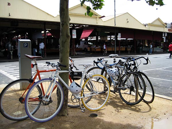 Bikes are parked everywhere in Melbourne - here are some outside the enormous Queen Victoria Market