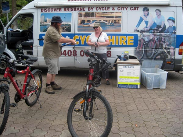 Soon we were the best of friends with the operator of Cycle Hire in the Botanic Gardens, Brisbane