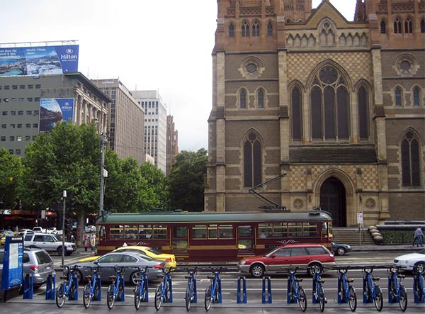 In Melbourne, an underfunded Bike Share system competes with a very impressive transit system, including free trams in the CBD - and most people choose the trams
