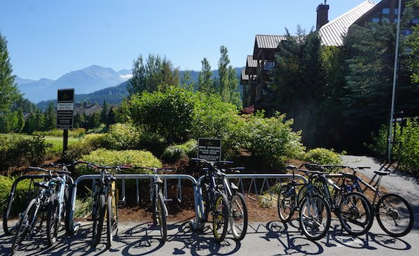 There is bike parking right outside the Table Nineteen Lakeside Eatery - Whistler Valley Trail – Whistler Village to Green Lake