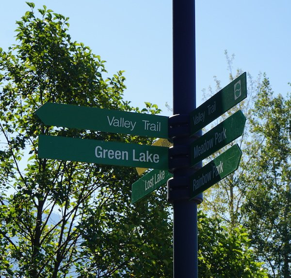 "Follow the sign that says ""Green Lake"". Whistler Valley Trail – Whistler Village to Green Lake"