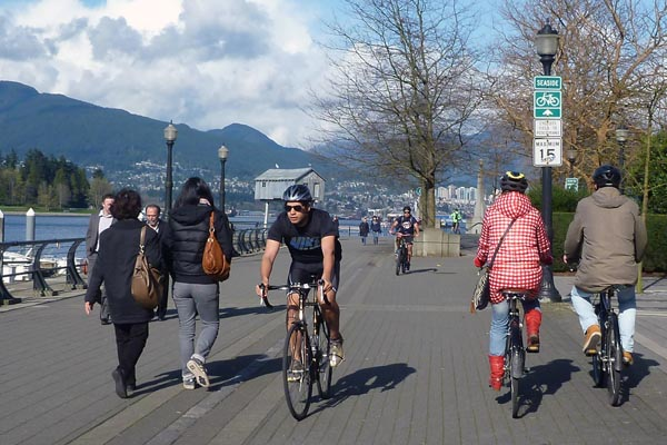 The Seaside Route has paths for pedestrians and cyclists, although not everyone sticks to them