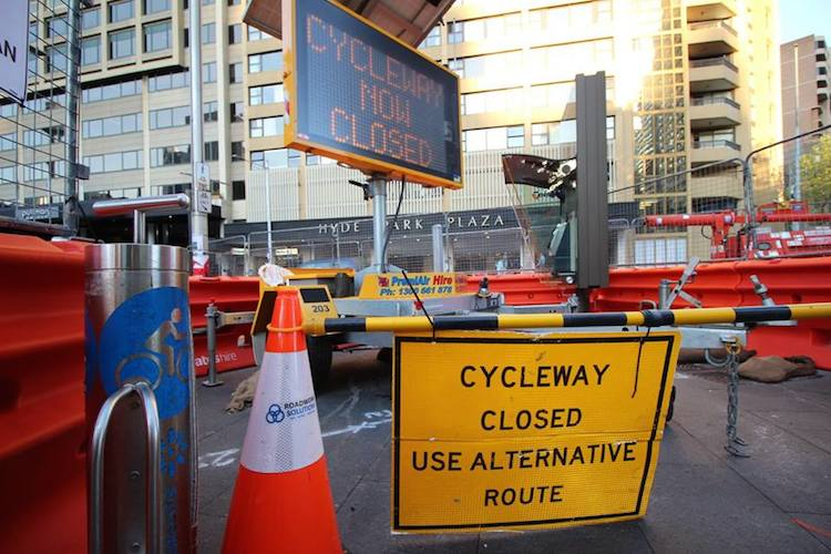 A perfectly good cycleway being demolished in Sydney, with no alternatives offered. Cyclists either have to duke it out with pedestrians in Hyde Park, or take their chances with fast-moving cars on College Street - photo from Save College St Cycleway's Facebook page