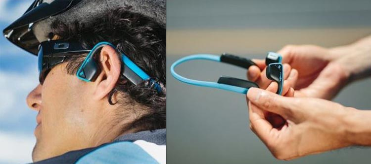The new AfterShokz Trekz Titanium cordless Bluetooth open ear bone conduction headphones are safe for cyclists, and strong too!