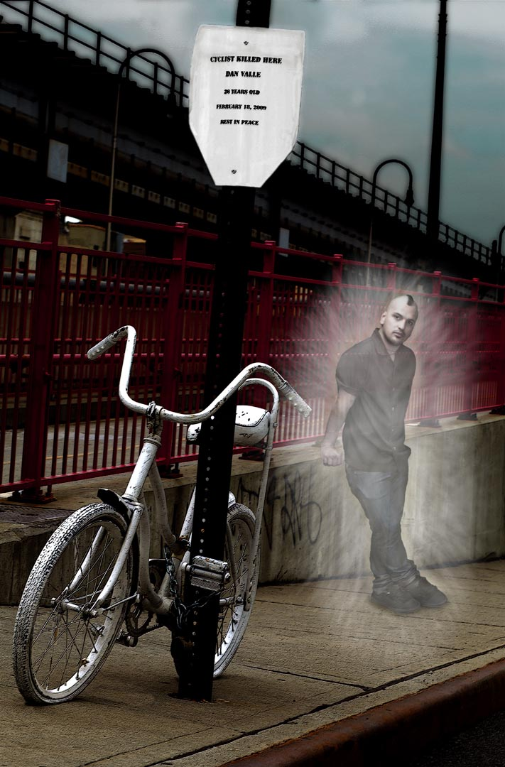 The second part of Don't Forget Me showcases Barnes's visually stunning photographs of ghost bikes