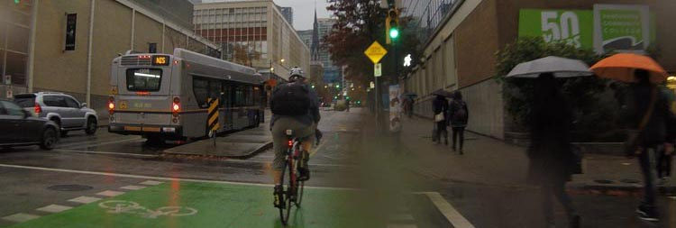 Top 10 tips for bike commuting. Buy waterproof cycling gear. Unfortunately, not every cycling day is going to be perfect weather. However, cycling in the rain can be quite pleasant if you are properly dressed. This guy in front of me was NOT!