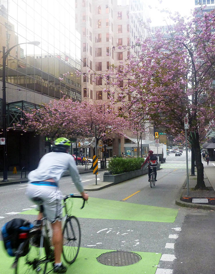 Ride safely and follow the rules of the road. If you can find a separated bike lane, use it! Read about the unexpected benefits of separate bike lanes here. 10 tips for bike commuting