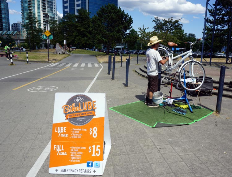 Just past Science World you are likely to come across something very useful - an enterprising bike mechanic who has toiled in the sun beside the bike route since 2011