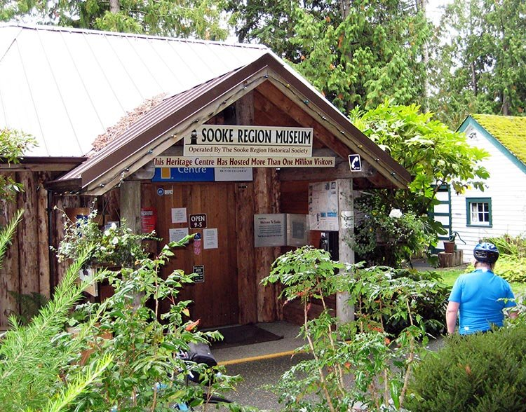 At this point on the Galloping Goose, you could pop down to Sooke. Here's Maggie at the Information Center in Sooke - worth a visit! Unfortunately, cycling in Sooke is not so great - read about it here.